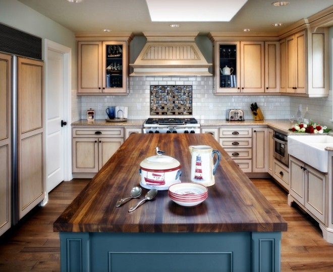 Inspired Butcher Block Countertop vogue Other Metro Beach Style Kitchen Remodeling ideas with blue cabinets blue island butcher block island cream cabinets cup pulls double bowl farmhouse
