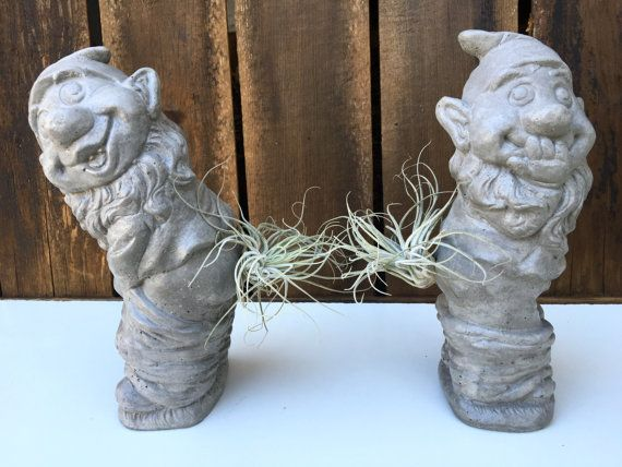 Nice Large Rude Gnome Duo Concrete Garden Statues By AnsonDesign