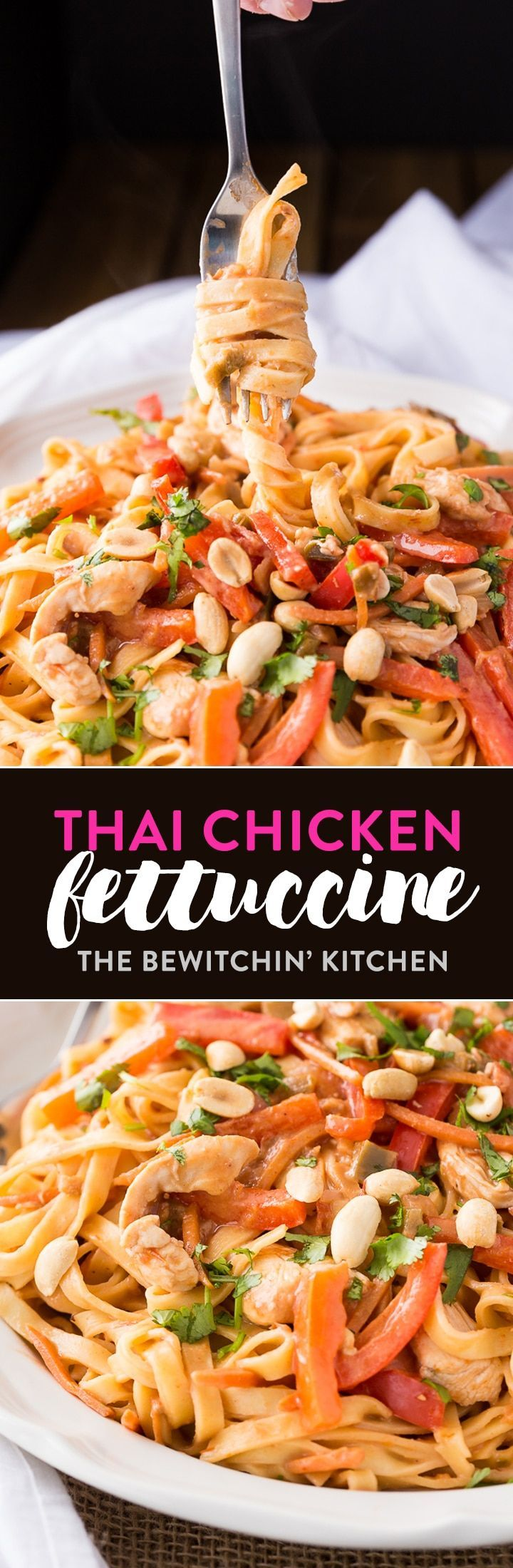 Thai Chicken Fettuccine. This twist on a classic pasta favorite uses peanut butter, chicken and few other additions. Dinner won't be the same. via @RandaDerkson