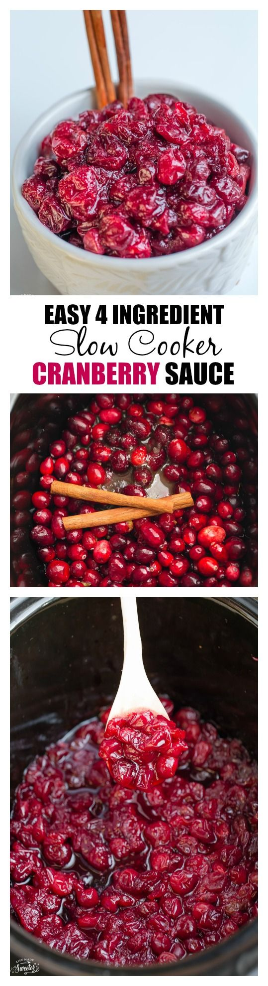 Slow Cooker Cranberry Sauce is so easy to make with only 4 ingredients