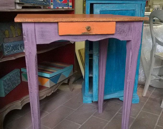 mesa de centro madera maciza pintada a mano