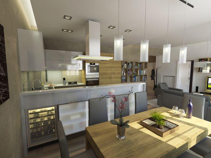 Konyha - étkező Látványterv / Kitchen - dining room architectural visualization