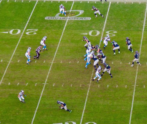 Russell Wilson under siege Carolina Panthers playoff game