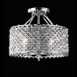Chrome/ Crystal 4-light Round Ceiling Chandelier--rearrange your room and nobody gets hurt!