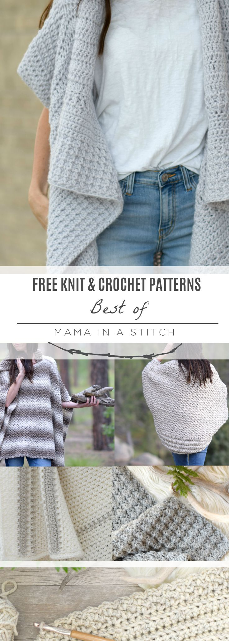 Top Knit and Crochet Patterns via @MamaInAStitch These are the favorite free knit and crochet patterns from Mama In A Stitch this year! It links to the patterns for crocheted sweaters, crocheted blankets and more!