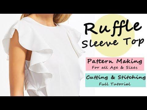 Designer Ruffle Sleeve Top ( Pattern / Cutting & Stitching ) - YouTube