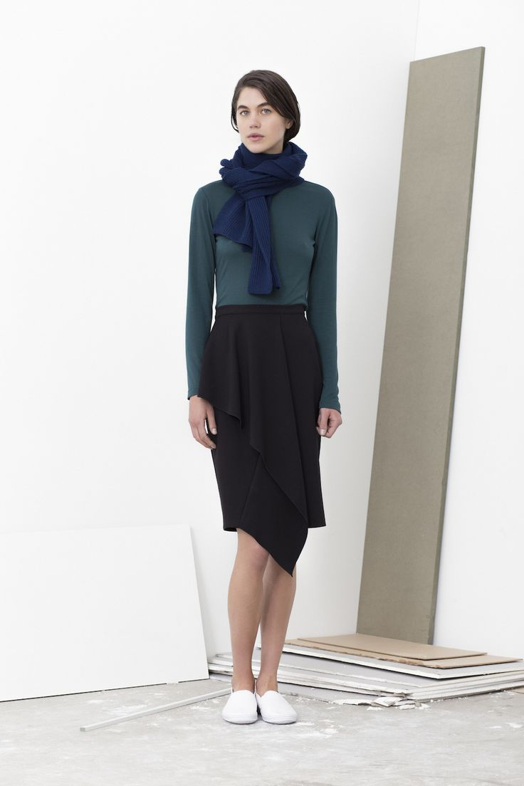 Beesley turtle neck top worn with Luella pencil skirt with folded front detail