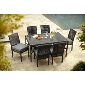 Hampton Bay Fenton 7 Piece Patio Dining Set With Peacock And Java Cushions DY