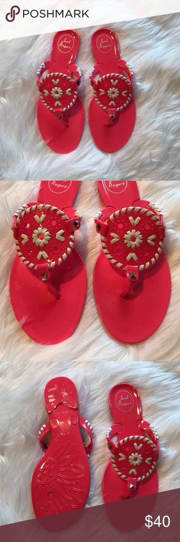 • Jack Rogers • Georgica Pink Jelly Sandals - Jack Rogers - Georgica Jelly Sandals - Size 4 (fits a women's 7)  - Pink and white - New without Box Jack Rogers Shoes Sandals