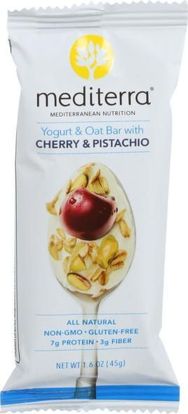 Mediterra Nutrition Yogurt And Oat Nutrition Bars - Cherry And Pistachio - 1.6 Oz Bars - Case Of 12