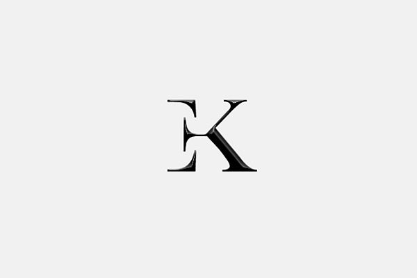 EK, simple, clever typography for a logo design