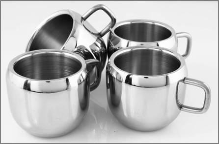 tea cups - steel finish