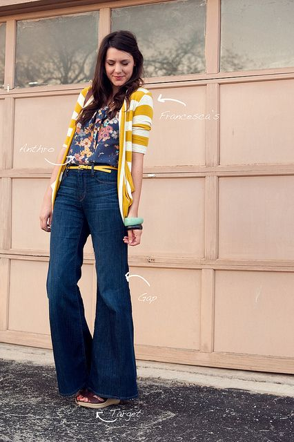#casual: Outfits, Floral Tops, Fashion, Stripes Cardigans, Yellow Stripes, Belle Bottoms, Style, Stripes Sweaters, Wide Legs Jeans