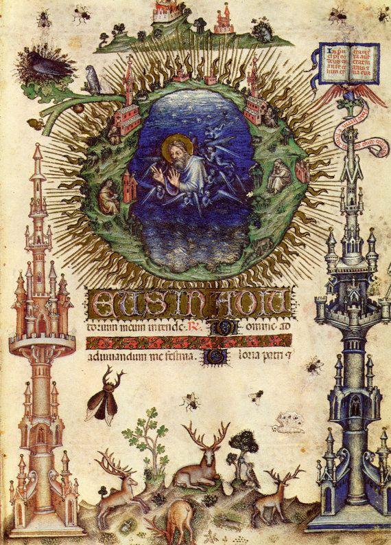 Visconti Hours Prayer Book, Creation. 1972 facsimile lithographic print