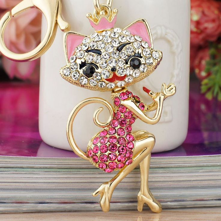 Pretty+Kitty+Keychain  Cat+Size:+7cm+x+3cm  Pink+-+Gold+Plated Red+-+Rose+Gold+Plated
