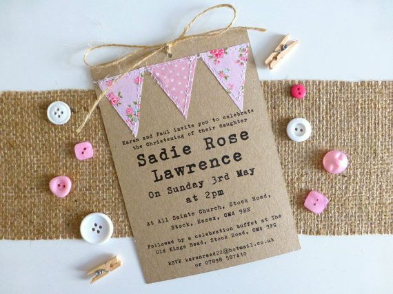 Handmade Christening invitation - Baptism - Naming Day - baby girl - bunting