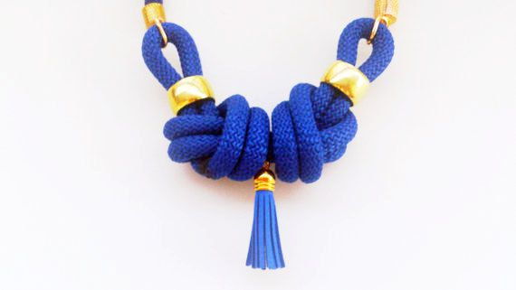 """Handmade statement necklace """"CLEOPATRA"""" with nautical knots in blue color with tassel and gold plated details 