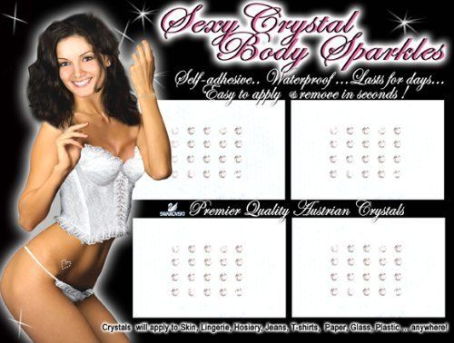 Sexy Body Sparkling Cryatals by Tattoo Factory. $9.99. These are large packs of Body Sparkle Decoration. The Sparkles are self adhesive, 100% waterproof, and they will last for 3 to 5 days. Yet, they are easily removed if you want them off. They adhere to Skin, Lingerie, Hosiery, Jeans and Tees, Paper, Glass, Plastic, Anywhere... Premium Quality Austrian made crystals. They make great gifts. So add a pack to your order and give them to somebody you know or would lik...