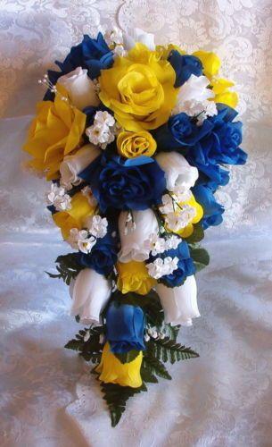 21pc Silk Wedding Bouquet Bridal Flowers Royal Blue Yellow Roses Cascade   eBay