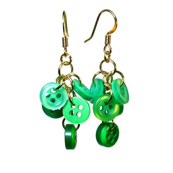 Button  Earrings in Emerald Green,  Upcycled Jewelry