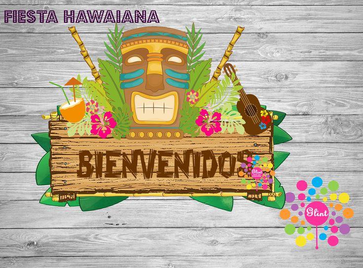 Letrero Bienvenidos! Tema Hawaiano, Tiki de IdeasGlint en Etsy