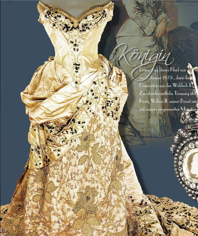 Queen Emma of the Netherlands' wedding dress, by A. Corbay, 1879, via http://www.royal-magazin.de/niederlande/emma-diamonds-wedding.htm