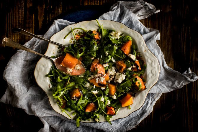 honey roasted pumpkin with cheese and rocket autumn salad