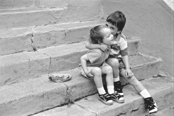 Owen and Isobel on the school steps by their home in Nova Scotia (photo: Dave Melnychuk)