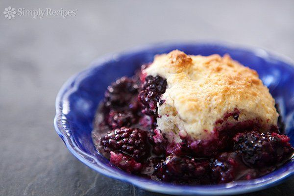 Blackberry Cobbler ~ Blackberry cobbler with fresh blackberries and topped with a homemade biscuity cobbler topping ~ SimplyRecipes.com
