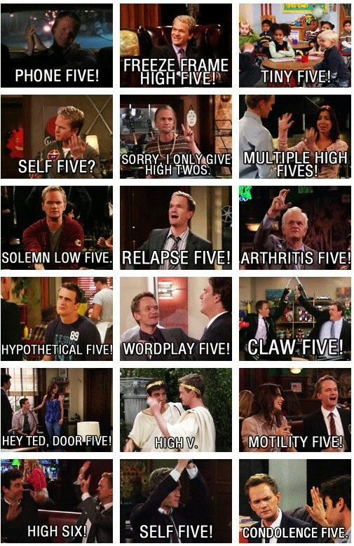 How I Met Your Mother high fives :) Now in it's last season! We will finally see Ted getting married!!
