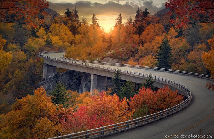 Evening Drive - The Lynn Cove Viaduct on the Blue Ridge Parkway in North Carolina. Photography by Kevin Carden.