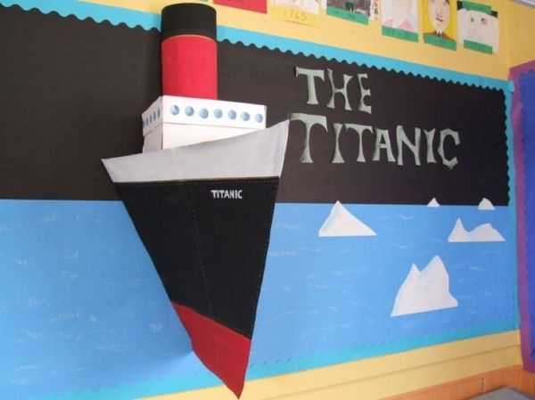 Titanic bulletin board 3D ship classroom SO cool! Teachers should all make this! by dawnereed