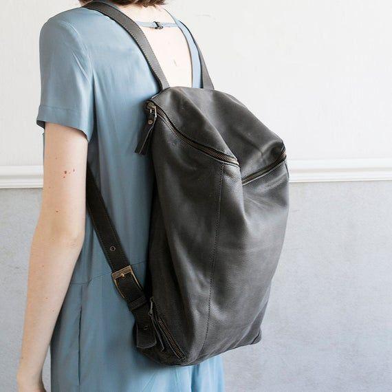 Leather Travel Bag Satchel Bag Rucksack Handmade Women Laptop Bag Gray Leather Bag Women Backpack