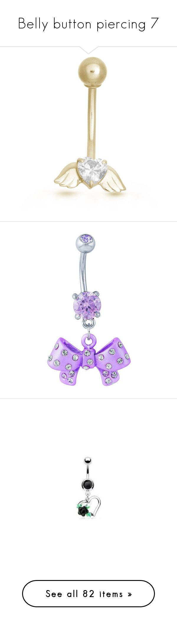 """""""Belly button piercing 7"""" by musicmelody1 ❤ liked on Polyvore featuring jewelry, belly rings, jewelry - belly rings, white, yellow gold jewelry, body jewellery, gold cz jewelry, cz jewelry, angel wing jewelry and rings"""