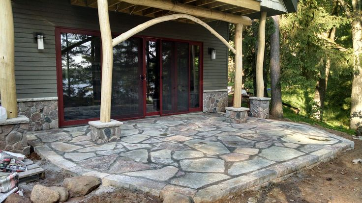 Natural Stone Patio With Chilton Stone Small Retaining