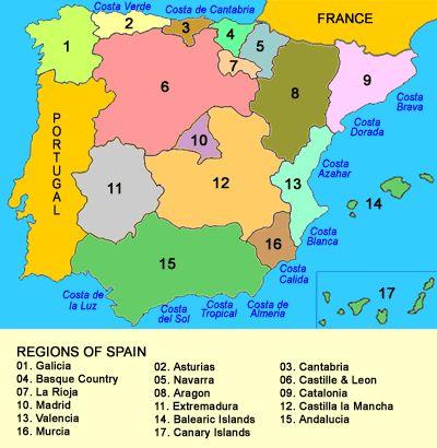 Map of Regions of Spain