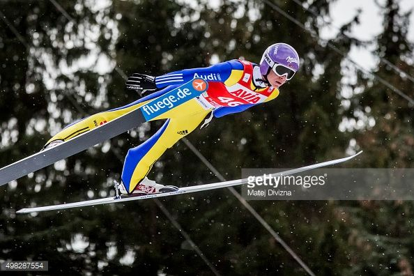 Andreas Wellinger of Germany competes during qualification for the individual competition at the FIS World Cup Ski Jumping day three on November 22...