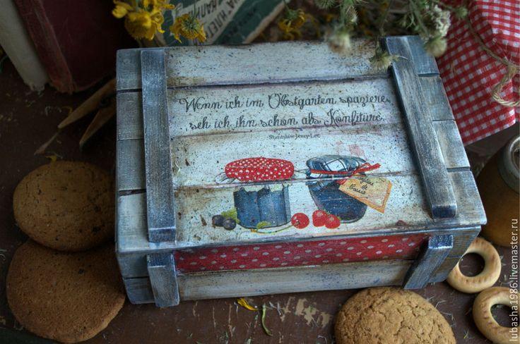 """Купить """"Баночки с вареньем""""немецкий короб для сухофруктов - тёмно-синий, горошек, баночка с вареньем, варенье, урожай"""