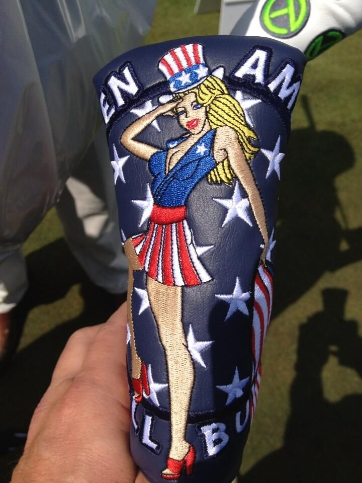 The special 2013 U.S. Open putter covers from Scotty Cameron give a big salute to America. This photo was taken at Merion by shaftmaker Fujikura Composites.