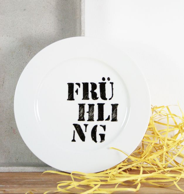 "Teller ""Frühling"" // plate spring by Gute Gaben via DaWanda.com"