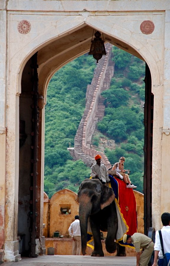 EDITED TO ADD: Please, please, please don't ride elephants. Find another way to support them like helping get them into sanctuaries, not serving tourists.  Jaipur, India...an Indian elephant ride all the way up to the Great Amber (Amer) Hindu Fort and Palace.