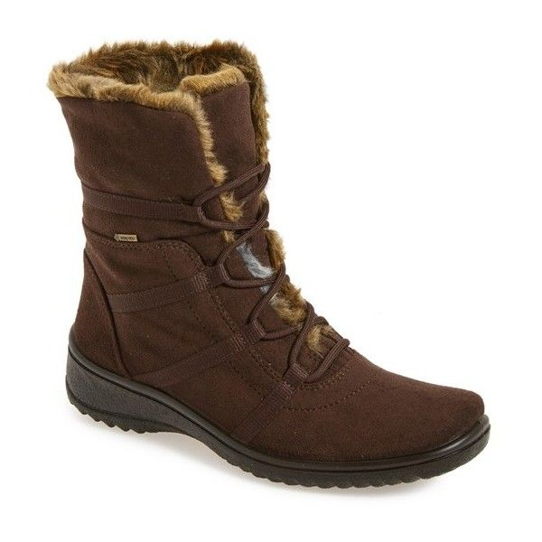 Women's Ara 'Magaly' Waterproof Gore-Tex Faux Fur Boot (12.930 RUB) ❤ liked on Polyvore featuring shoes, boots, brown fabric, grip shoes, ara boots, breathable shoes, water proof boots and rubber sole boots