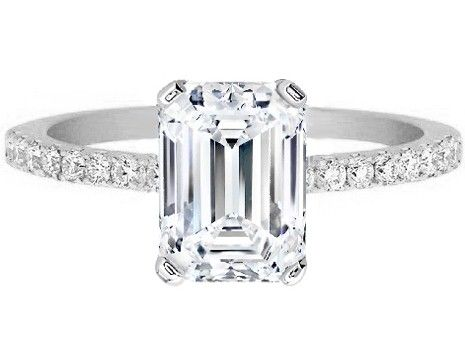 Engagement Ring - Emerald Cut Diamond Engagement Ring Pave Band in 14K White Gold - ES1035ECWG