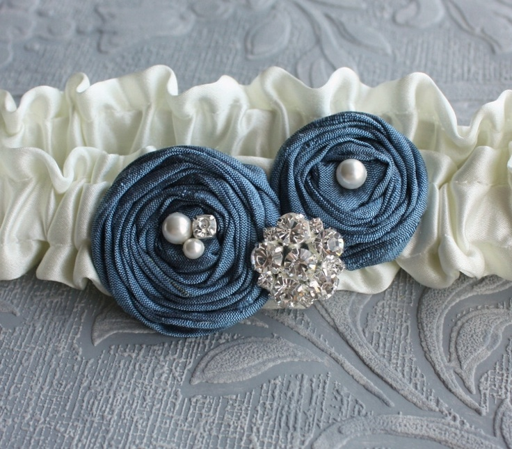 Bridal Garter SET in Ivory and Blue Silk - the Olivia Garter (Other Colors Available)