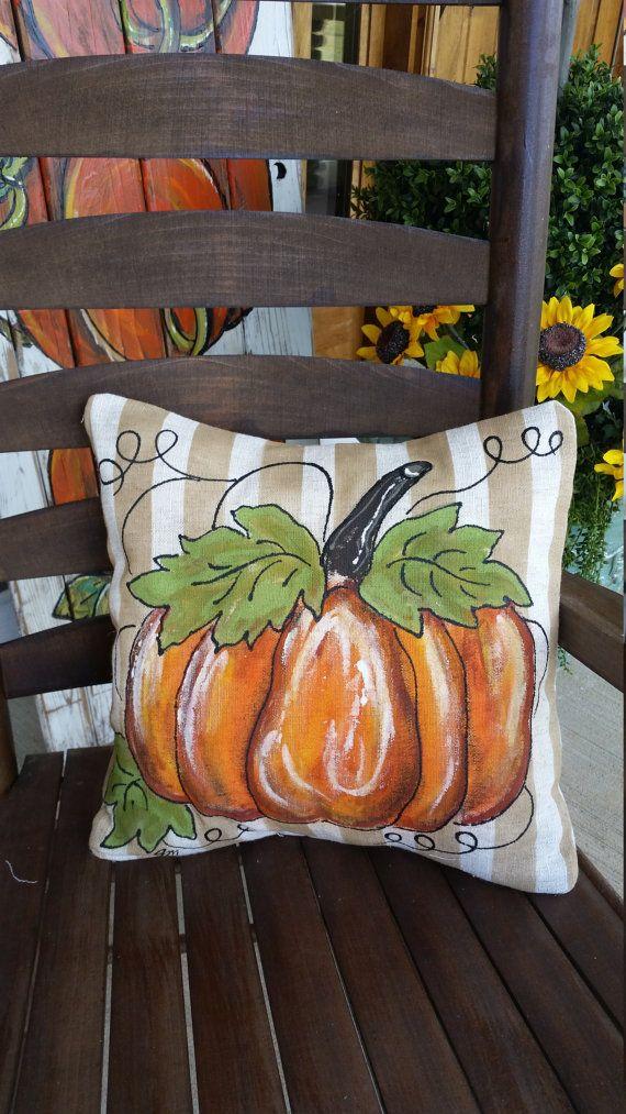Striped Pillow Sham Fall Pumpkin Pillow 20 X 20 Linen Like