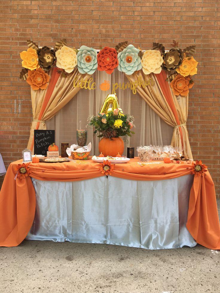 Little Pumpkin theme babyshower backdrop for dessert table ...