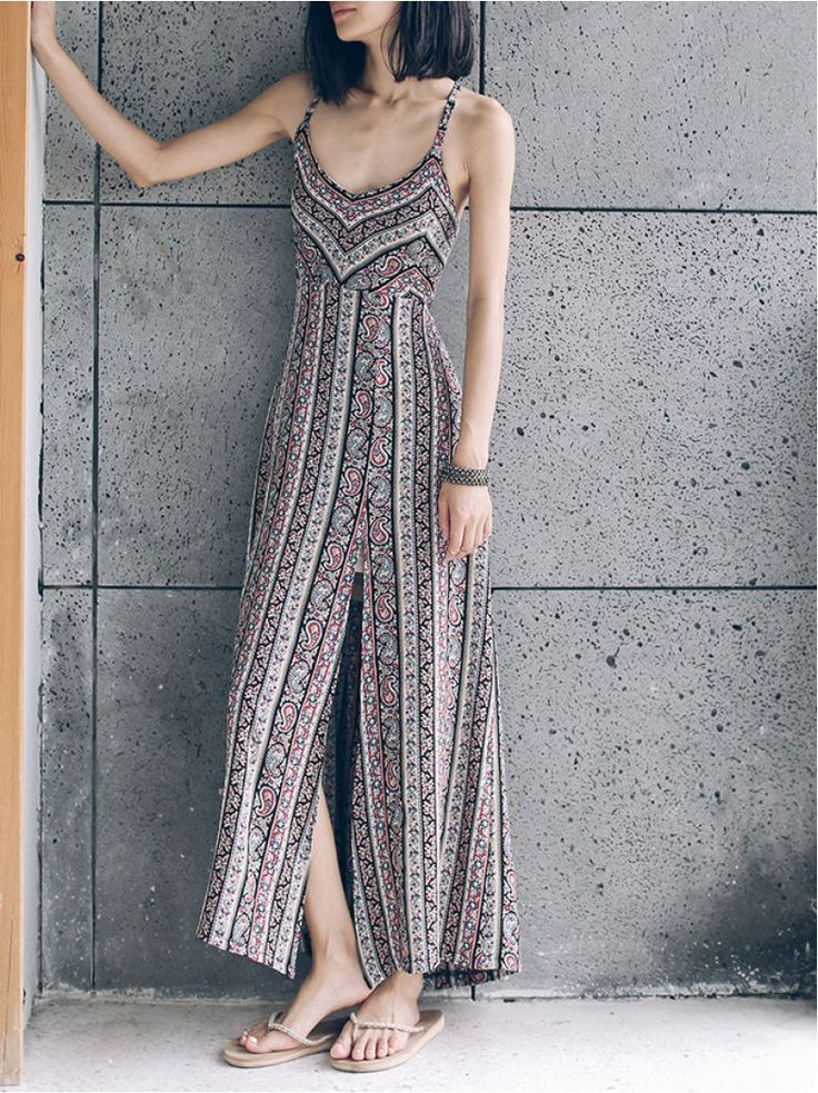 Slit Printed Maxi Dress,is this dress suitable to you?just $19.99
