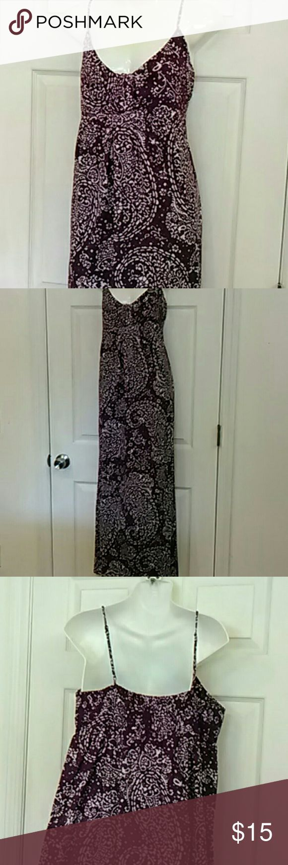 Purple maxi dress cotton woven Cute summer maxi dress!  Purple and white woven cotton, not knit.  Smocking in the back for a comfortable fit and adjustable spaghetti straps.  Fabric still feels a bit stiff, like new.  I believe  I this may be new and unworn.  Very  nice!  From Target. Merona Dresses Maxi
