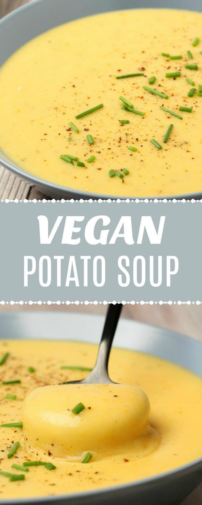 Reichhaltige, herzhafte und sättigende vegane Kartoffelsuppe. Super einfach, super lecker und …