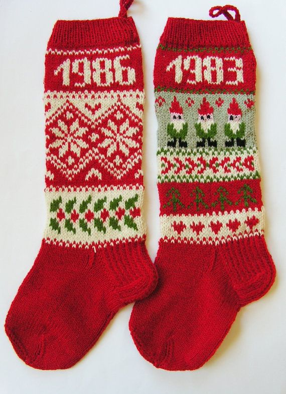 For 2014Hand knit Christmas Stocking with by KnittingsWithSense